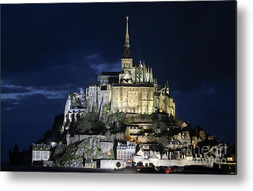 Mont St Michel Metal Print featuring the photograph Mont St. Michel At Night by Joshua Francia