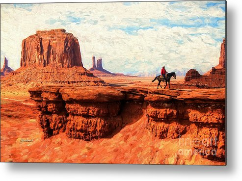 Desert. Monument Valley Metal Print featuring the mixed media Rider In The Sky by Garland Johnson