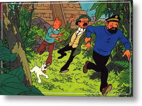 The Adventures Of Tintin Metal Print featuring the digital art The Adventures Of Tintin by Dorothy Binder