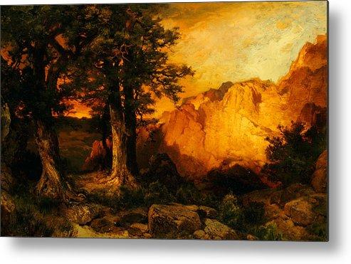 Thomas Moran Metal Print featuring the painting The Grand Canyon by Thomas Moran