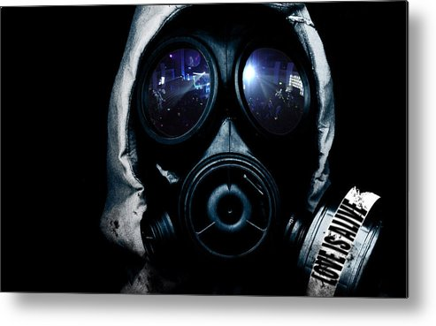 Gas Mask Metal Print featuring the digital art Gas Mask by Mery Moon