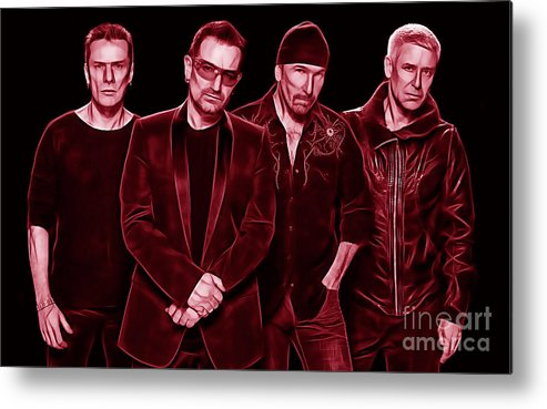 Bono Metal Print featuring the mixed media U2 Collection by Marvin Blaine