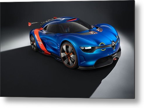 2 Renault Alpine A110 0 Metal Print featuring the digital art 2012 Renault Alpine A110 50 by Mery Moon