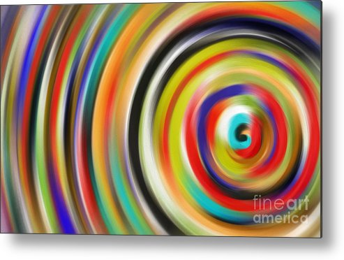 Abstract Metal Print featuring the painting abstract Colurfull Rings by Hassan Qureshi