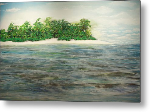 Palm Trees Metal Print featuring the painting An Island All To Myself 1 by Jorge Stark