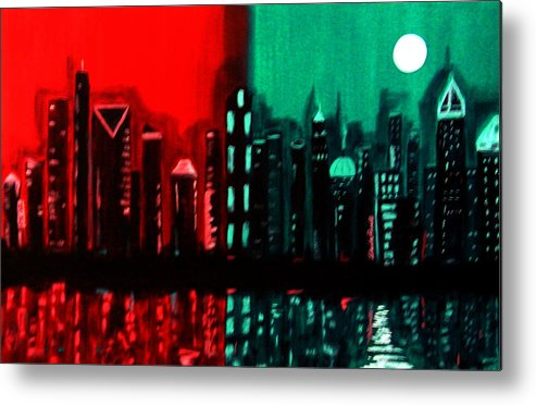 36 Inch Abstract Acrylic Nightscape Metal Print featuring the painting Atlanta by Linda Powell
