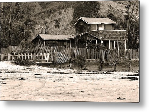 Sepia Metal Print featuring the photograph Beaches Beach House II by Joanne Coyle