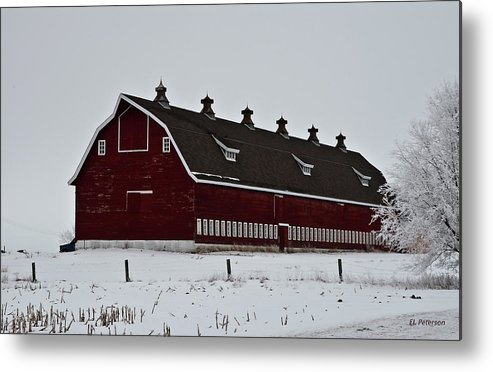 Barns Metal Print featuring the photograph Big Red Barn In The Winter by Edward Peterson