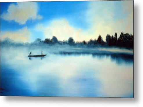 Blue Metal Print featuring the painting Blue Lagoon by SueEllen Cowan
