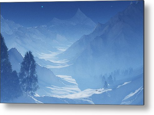 Mountain Metal Print featuring the digital art Blue Mountain Path by Margaret Wingstedt