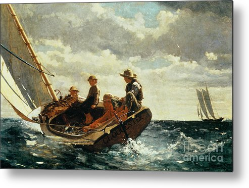Breezing Up (a Fair Wind) 1873-76 (oil On Canvas) By Winslow Homer (1836-1910)boat Metal Print featuring the painting Breezing Up by Winslow Homer