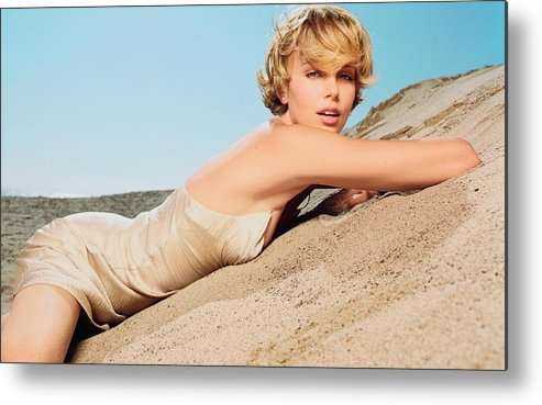 Charlize Theron Metal Print featuring the digital art Charlize Theron by Dorothy Binder