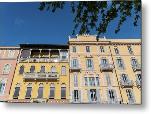 Ancient Metal Print featuring the photograph Colourful Facade Of Traditional Buildings In Como, Italy by Alexandre Rotenberg