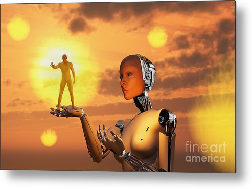 Horizontal Metal Print featuring the digital art Concept Illustrating Mankind Becoming by Mark Stevenson