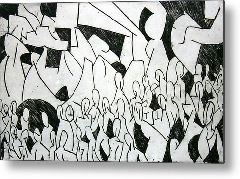 Etching Metal Print featuring the print Crowd by Thomas Valentine