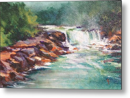Waterfall Metal Print featuring the painting Cumberland Falls by Donna Pierce-Clark