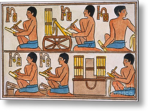 27th Century B.c. Metal Print featuring the photograph Egyptian Scribes by Granger