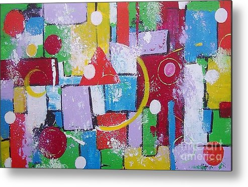 Abstract Metal Print featuring the painting Energie Field by Anita Dielen