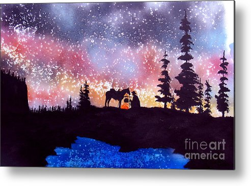 Cowboy Metal Print featuring the painting Evening Reflections by Ed Moore