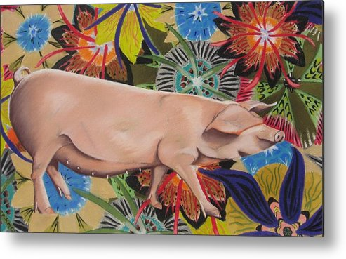 Painting Of A Pig Metal Print featuring the painting Fashionista Pig by Michelle Hayden-Marsan