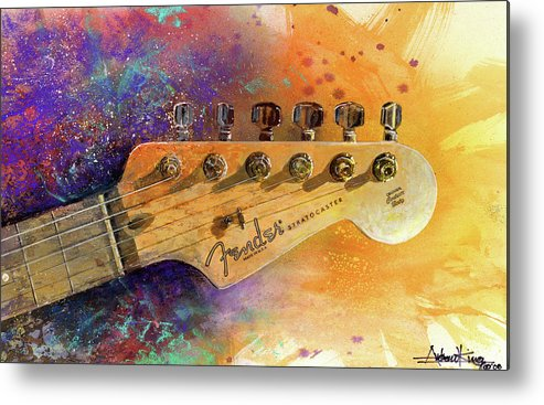 Fender Stratocaster Metal Print featuring the painting Fender Head by Andrew King
