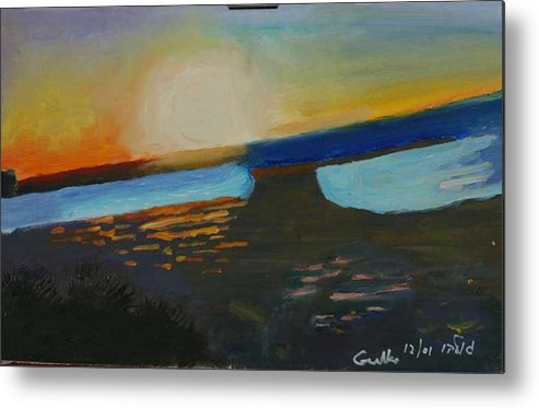 Seashore Metal Print featuring the painting Flaming Sunset  by Harris Gulko
