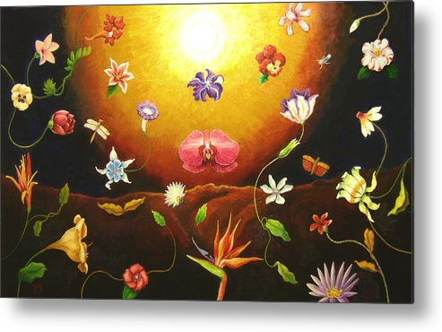 Metal Print featuring the painting Flor Nocturna by Paul Sierra