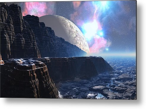 David Jackson Fortress Of Nimmbl Alien Landscape Planets Scifi Metal Print featuring the digital art Fortress Of Nimmbl by David Jackson