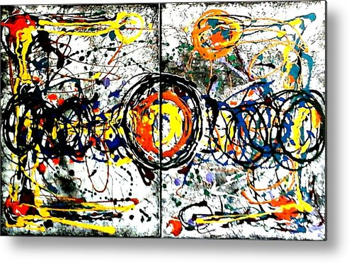 Abstract Metal Print featuring the painting Fun Zone. by Rosa Lopez
