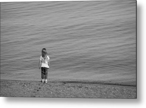 Girl Metal Print featuring the photograph Girl Shore by Steven R Breininger