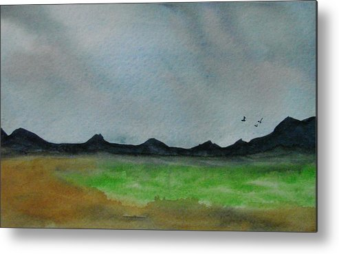 Landscape Metal Print featuring the painting Green Fields by Liz Vernand