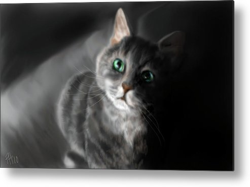 Cat Metal Print featuring the painting Grey On Gray by Peggy Hickey