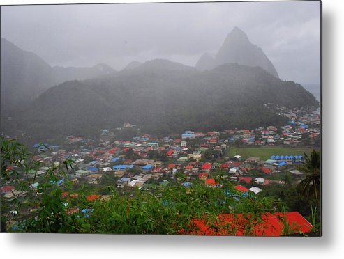 St. Lucia Metal Print featuring the photograph Hazy Pitons by Gary Wonning