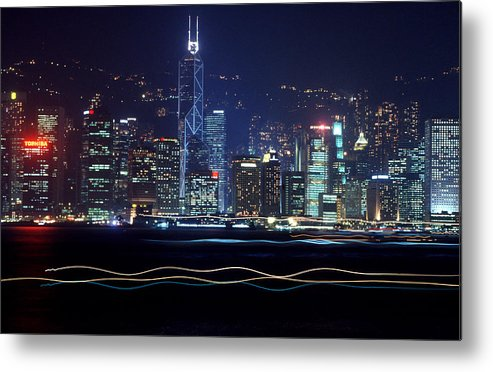 City Metal Print featuring the photograph Hong Kong Harbor by Brad Rickerby