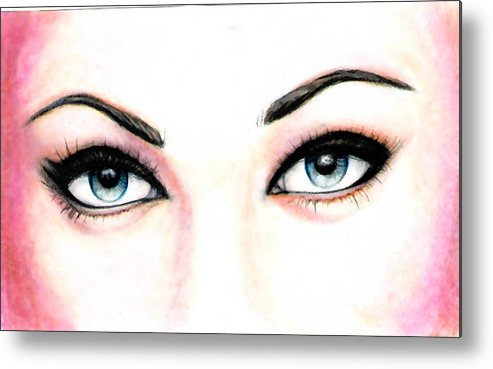 Eyes Metal Print featuring the drawing I See You by Scarlett Royal
