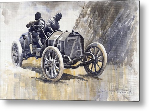 Watercolour Metal Print featuring the painting Isotta Fraschini 50hp 1908 Targa Florio by Yuriy Shevchuk
