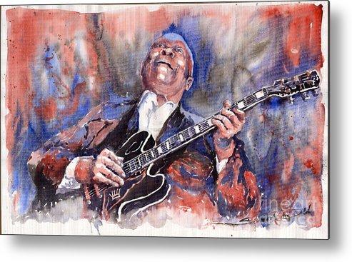 Jazz Metal Print featuring the painting Jazz B B King 05 Red A by Yuriy Shevchuk