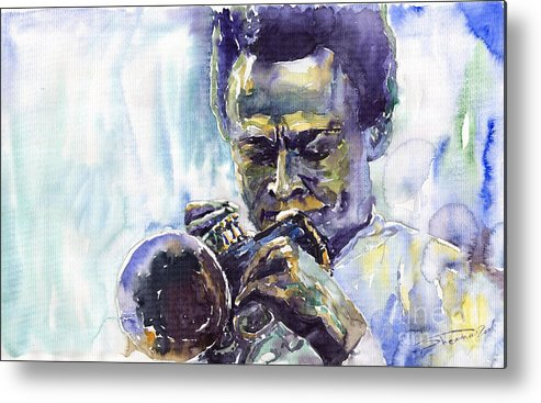 Jazz Miles Davis Music Musiciant Trumpeter Portret Metal Print featuring the painting Jazz Miles Davis 10 by Yuriy Shevchuk