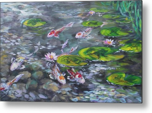 Koi Fish Lily Pad Pond Reeds Rocks Blue Green White Red Orange Water Waterscape Nature Metal Print featuring the painting Koi Haven by Alan Scott Craig