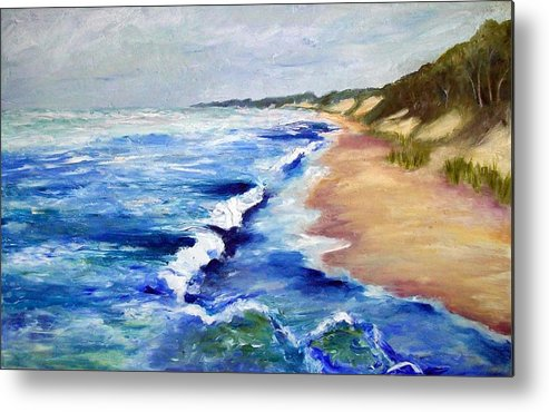 Whitecaps Metal Print featuring the painting Lake Michigan Beach With Whitecaps by Michelle Calkins