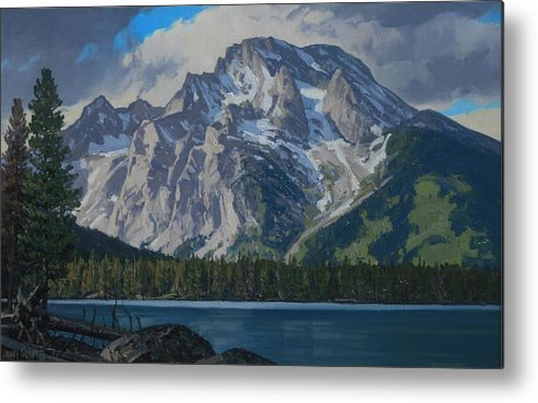 Landscape Metal Print featuring the painting Leigh Lake by Lanny Grant