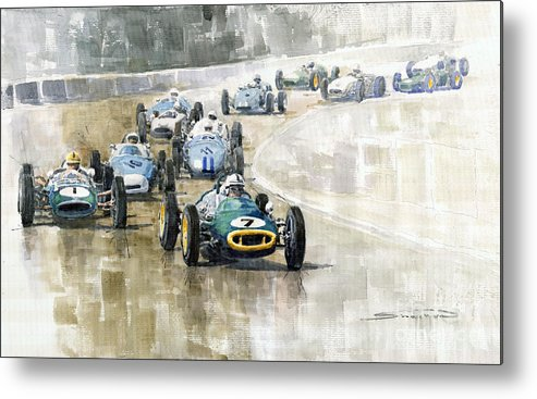 Automotive Metal Print featuring the painting 1961 Germany Gp #7 Lotus Climax Stirling Moss Winner by Yuriy Shevchuk
