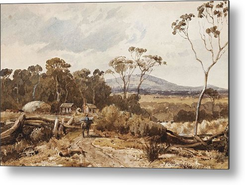 Nature Metal Print featuring the painting Louis Buvelot , At Ballan, 1876 by Louis Buvelot