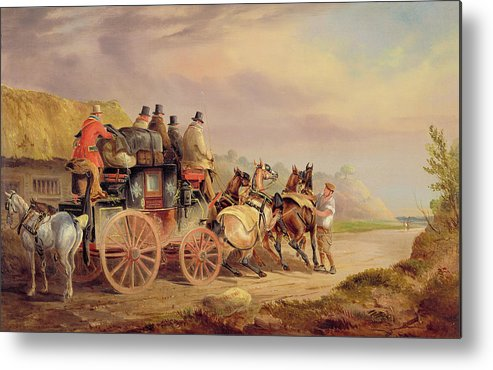 Mail Metal Print featuring the painting Mail Coaches On The Road - The 'quicksilver' by Charles Cooper Henderson