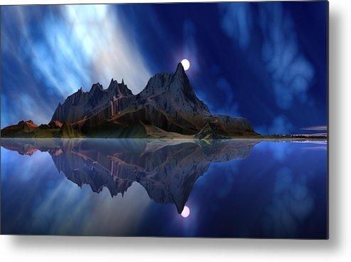 David Jackson Moonrise Accension Island. Alien Landscape Planets Scifi Metal Print featuring the digital art Moonrise Accension Island. by David Jackson