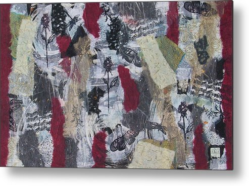 Collage Metal Print featuring the mixed media Music And Roses by Michele Caporaso