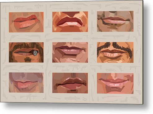Stallone Schwarzenegger Metal Print featuring the digital art Mystery Mouths Of The Action Genre by Mitch Frey