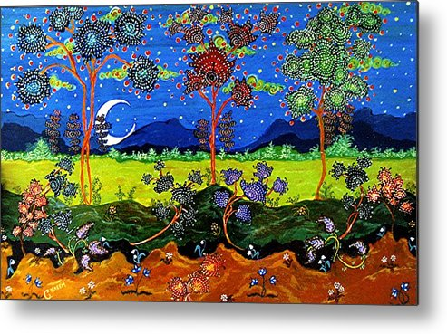 Moon Metal Print featuring the painting Night Dreamscape by Caroline Urbania Naeem