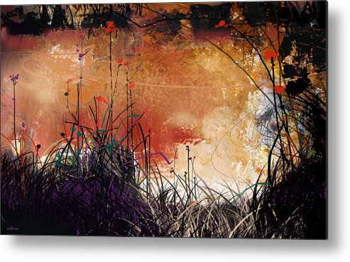 Landscape Metal Print featuring the digital art Night Mirrors by Dale Witherow