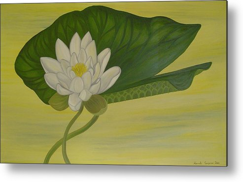 Marinella Owens Metal Print featuring the painting Nymphaea Alba by Marinella Owens